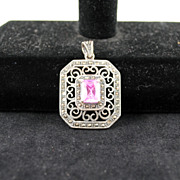 FREE SHIPPING SALE 1960's 1960s Sterling Silver Marked 925 Marcasite Octagon Pink Crystal Pend