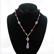 FREE SHIPPING SALE 1950's 1950s Purple Glass Brass Beaded Drop Necklace Vintage Jewelry Spring