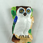 FREE SHIPPING SALE 1940's 1940s Lusterware Made in Japan Owl Wall Pocket Wall Hanging Home Dec