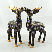 FREE SHIPPING SALE 1950's 1950s Cloisonne Deer Pair Purple Blue Pink Black Gold Asian Oriental