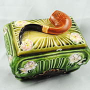 FREE SHIPPING SALE 1940's 1940s Majolica Pipe Tobacco Holder Humidor Green Art Nouveau
