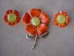 Signed Emmons Orange Enamel & gold tone Flower Brooch & Earrings Demi Parure