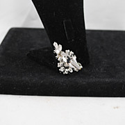 Clear Rhinestone Prong Set Hollywood Glamour Clip Bridal Earrings