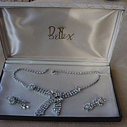SALE Bellex Demi Parure Rhinestone Necklace & Earrings in Box