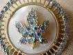 Vintage Keyes Rhinestone & Mother of Pearl Maple Leaf Pin