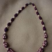 SALE Art Deco Carved & Dyed Celluloid Bead Necklace