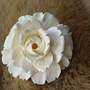 SALE 1930s Vintage Carved White Celluloid figural Rose Brooch