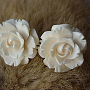 SALE 1930s Carved White Celluloid Roses Screw Back Earrings