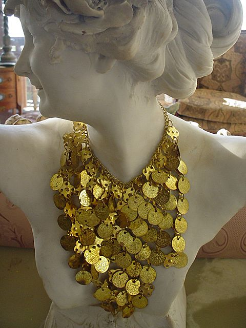Egyptian Revival Brass Coin Bib Scarf Necklace