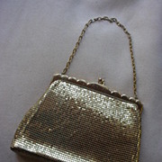 Vintage Whiting & Davis Gold Tone Metal Mesh Purse