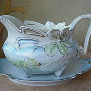SALE Art Nouveau RS Prussia Swan Gravy Boat & Underplate