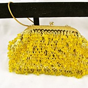 1950's 1950s Vintage Designer Made in HONG KONG Gold w Yellow Beads Clutch / Purse