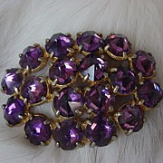 SALE Vintage Purple pointed Rhinestone Brooch