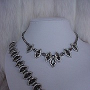 SALE Signed Weiss Faux Black Diamond Rhinestone Necklace & Bracelet