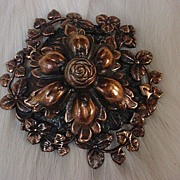 SALE N.Y. designer signed Sam Biern Vintage Floral Copper Brooch