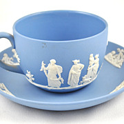 1940's 1940s Classic English Jasperware Wedgewood Blue and White Teapcup Saucer Neo Classical