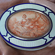 SALE 19th C. Viennese Enamel Sterling Guilloche Box with Miniature Ivory Portrait