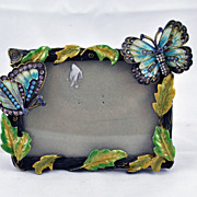 FREE SHIPPING 1980's 1980s Home Decor Enameled Butterfly Blue Pink Rhinestone Frame
