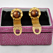 FREE SHIPPING 1960's 1960s Gold Tone Brown Chain Link Cuff Link