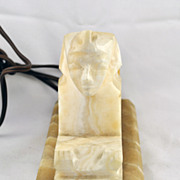 FREE SHIPPING 1940's 1940s Lighting Marble Egypt Egyptian Sphinx Lamp Light Home Decor Mid Cen