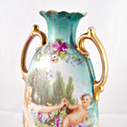 FREE SHIPPING 1930's 1930s Hand Painted Victoria Austria Vase Neo Classical Angel Blue Floral 