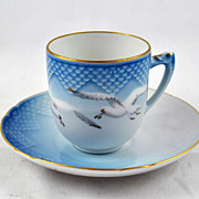 FREE SHIPPING 1950's 1950s Tea Cup Saucer The Danbury Mint Blue to White Gradient Seagulls Fly
