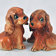 FREE SHIPPING 1960's 1960s Pair of Cocker Spaniel Puppies Puppy Dog Salt and Pepper Shakers Vi