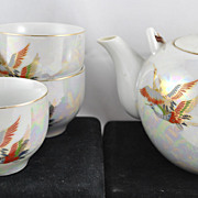 FREE SHIPPING 1950's 1950s Lusterware Bird Bamboo Handle Tea Pot and Tea Cups Tea Set Japan Ja