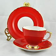FREE SHIPPING 1960's 1960s Sheridan English Bone China Red Rea Cup Plate and Saucer Home Decor