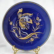 FREE SHIPPING 1960's 1960s Cobalt Blue Gold Gilt Botanical Floral Charger