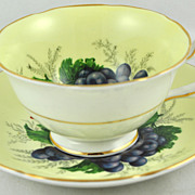 FREE SHIPPING 1950's 1950s A Royal Grafton Fine English Bone China Fruit Yellow Tea Cup and Sa