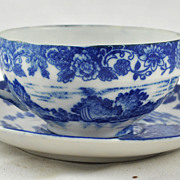 FREE SHIPPING 1940's 1940s Blue Transferware Geisha Lithophane Teacup and Saucer Tea Set Japan