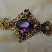 SALE Gold Filled Victorian Amethyst Color Stone Bar Pin Brooch