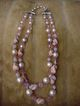 Circa 1950s Vintage Vendome Faux Pearl, Pink Crystal, Clay Bead necklace