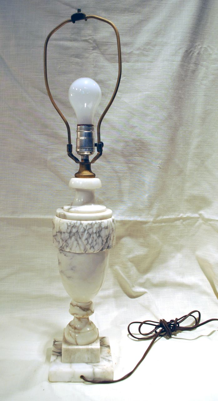 FREE SHIPPING 1950's 1950s Classic White Marble Table Lamp Shabby Chic Paris Apartment Home Decor