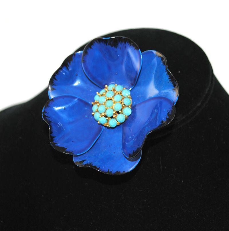 REE SHIPPING 1960's 1960s Large Blue Enameled Prong Set Rhinestone Chunky Huge Floral Pin