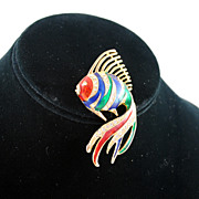 FREE SHIPPING 1960's 1960s Enameled Red Blue Green Rhinestone Swimming Fish