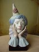 Large Retired Lladro Porcelain Jester Clown Head 5129 w/base