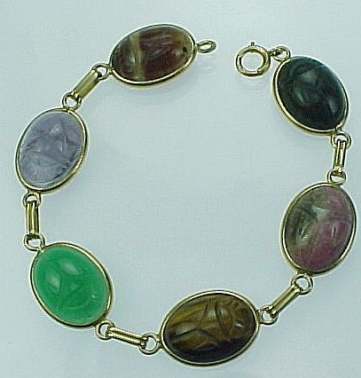 Egyptian Revival 14k Yellow Gold Scarab Bracelet 6 Different Stones