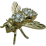 Vintage Honey BEE Brooch 14K Gold 1.71 ctw DIAMOND