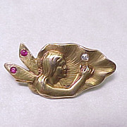 Art NOUVEAU Fairy Brooch Ruby & Diamond Accent 14k Gold