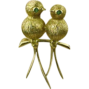 Vintage LOVEBIRD Brooch 14k Gold Emerald Accent Circa 1950's