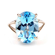 Vintage BIG 8 Carat  Blue Topaz Ring 10k White Gold