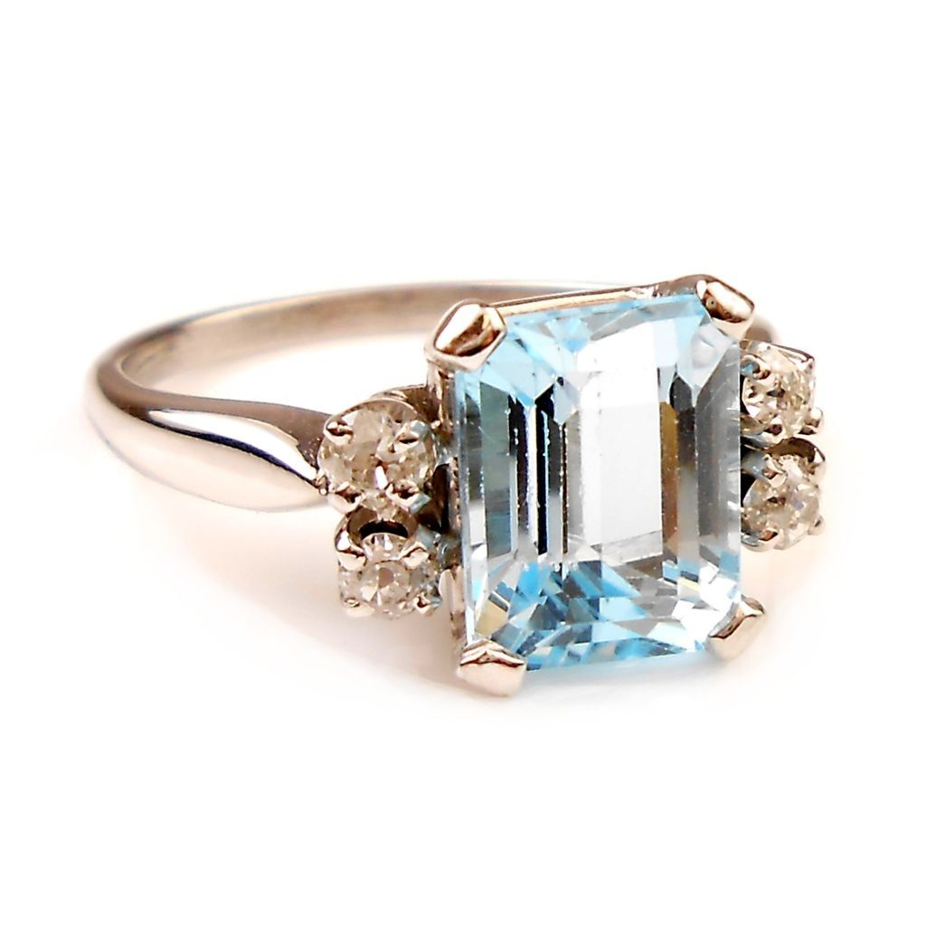 vintage emerald cut blue topaz ring with accent