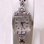 Vintage Ladies Hamilton Watch 1 Carat DIAMONDS 14k White Gold