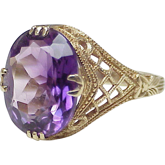 Impressive Edwardian Inspired Amethyst Ring with Milgrain & Lattice Details
