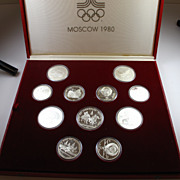 1980 USSR Moscow Olympics 21/28 Coin Silver Proof Set with Display Case