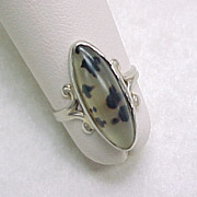 Vintage Ring Moss Agate 14K White Gold Circa 1960's