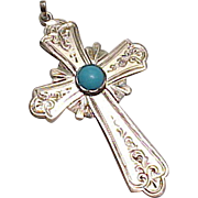 Beautiful Hand Crafted Cross Pendant 14k Gold Persian Turquoise