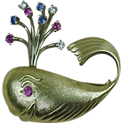 Vintage WHALE Brooch 14k Gold Diamond, Sapphire & Ruby Accent